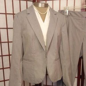 LANE BRYANT Jackets & Coats - LANE BRYANT LIGHT GRAY STRIPED BLAZER & PANTS SUIT